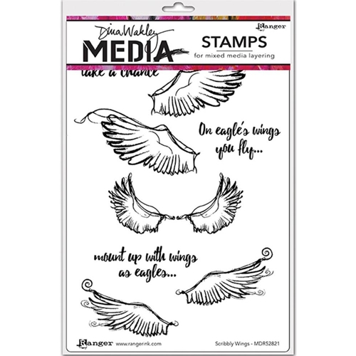 Dina Wakley SCRIBBLY WINGS Media Cling Rubber Stamp MDR52821 Preview Image