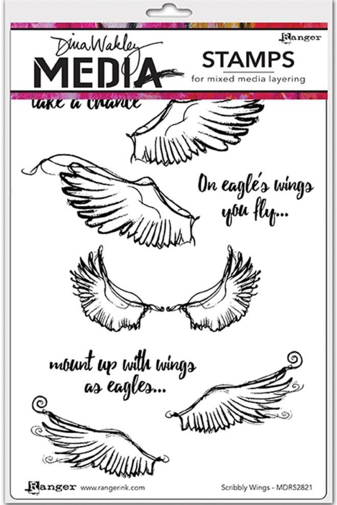 Dina Wakley SCRIBBLY WINGS Media Cling Rubber Stamp MDR52821 zoom image