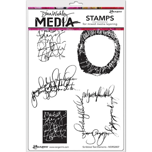 Dina Wakley SCRIBBLED TEXT ELEMENTS Media Cling Rubber Stamp MDR52807 Preview Image