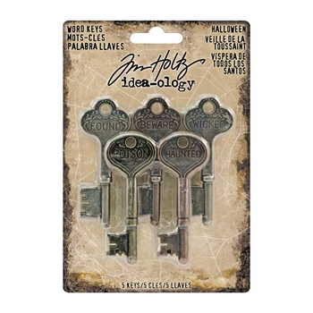 Tim Holtz Idea-ology HALLOWEEN Word Keys Findings TH93600*