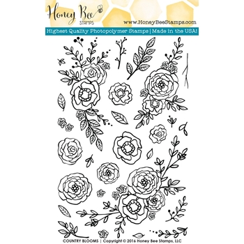 Honey Bee COUNTRY BLOOMS Clear Stamp Set HBST-026