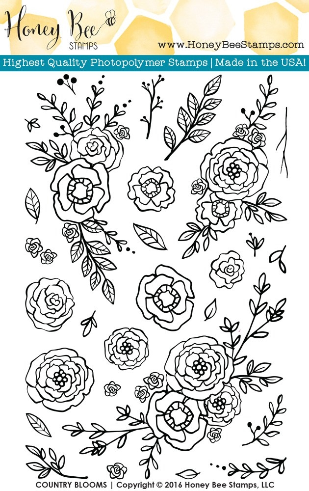 Honey Bee COUNTRY BLOOMS Clear Stamp Set HBST-026 zoom image