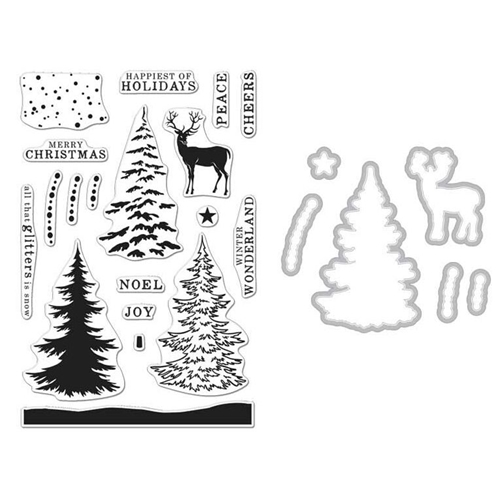 Hero Arts SNOWY TREE CLEAR STAMP & DIE COMBO SB121 Preview Image