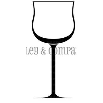 Riley and Company Funny Bones WINE GLASS Cling Rubber Stamp RCM-409