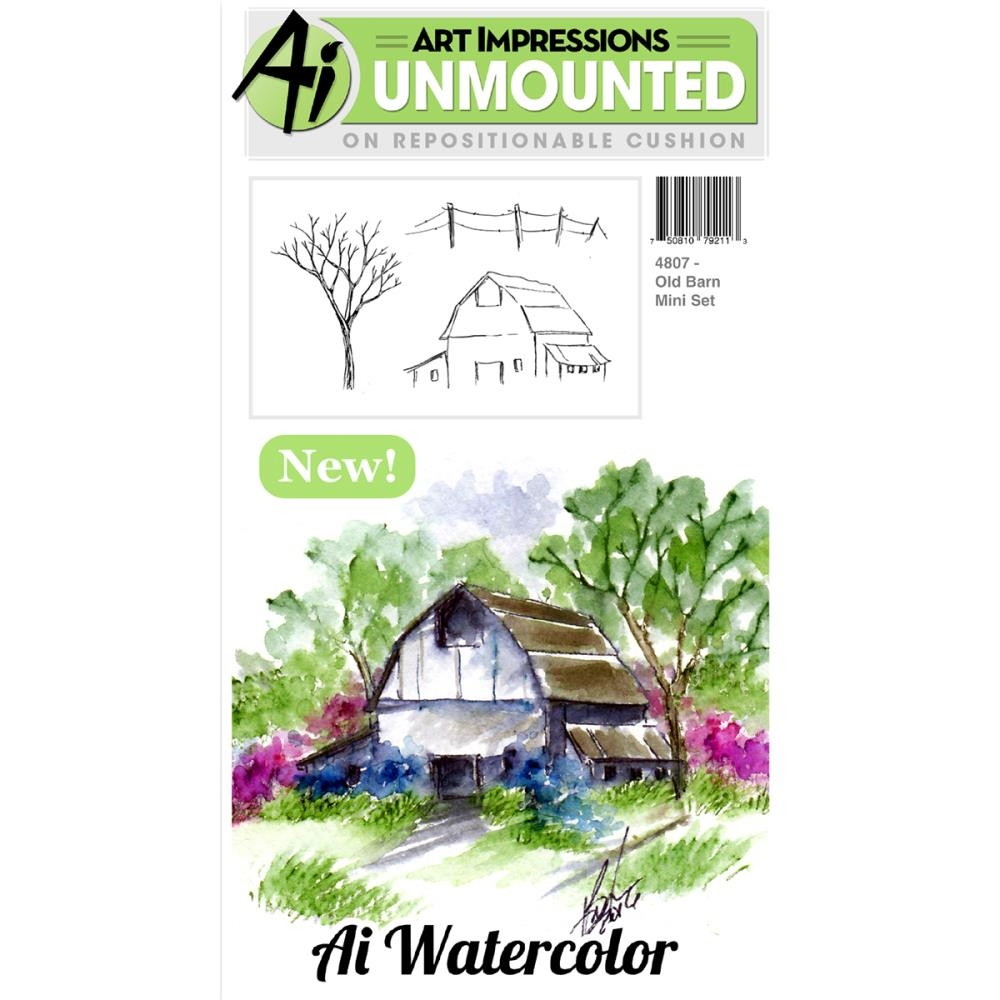 Art Impressions OLD BARN Watercolor Cling Rubber Stamp Set 4807 zoom image