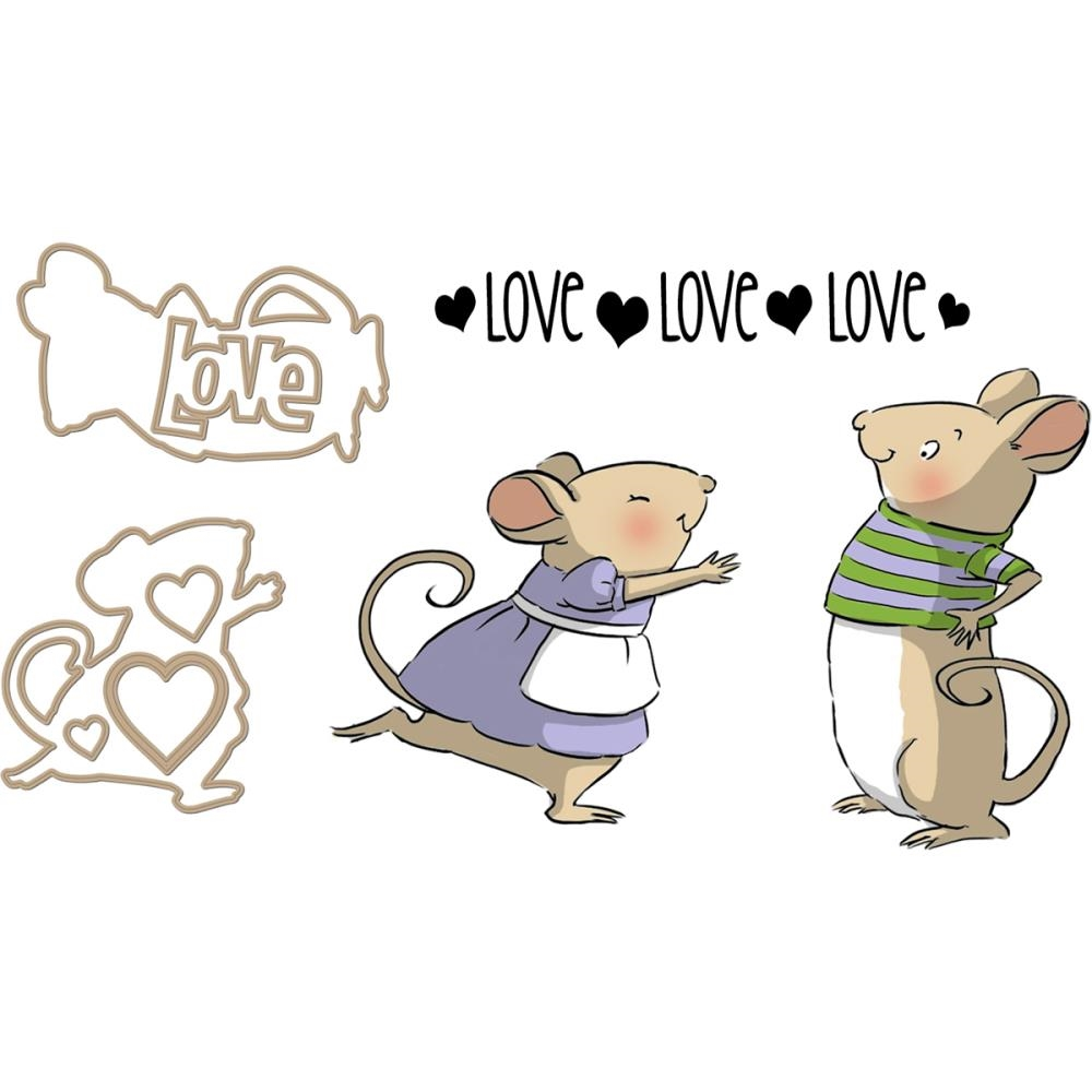 Art Impressions MOUSE SLIDER SET Clear Stamps and Dies 4803 zoom image
