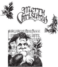 Tim Holtz Cling Rubber Stamps SANTA'S WISH Christmas CMS032