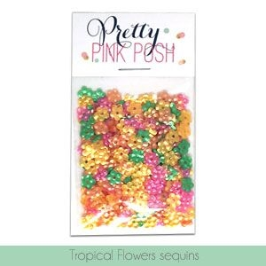 Pretty Pink Posh TROPICAL FLOWERS Sequins  zoom image