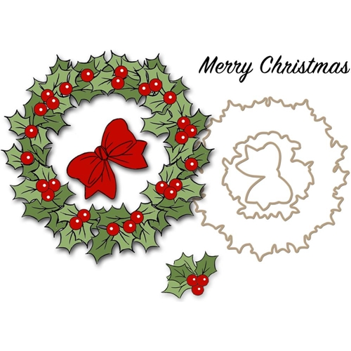 Art Impressions CHRISTMAS WREATH Clear Stamps and Dies 4791 Preview Image