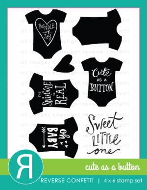 Reverse Confetti CUTE AS A BUTTON Clear Stamp Set* Preview Image