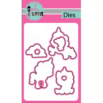 Pink and Main MAGICAL UNICORNS Coordinating Die Set PNM044*