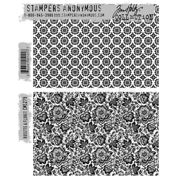 Tim Holtz Cling Rubber Stamps ROSETTE and FLORET CMS279