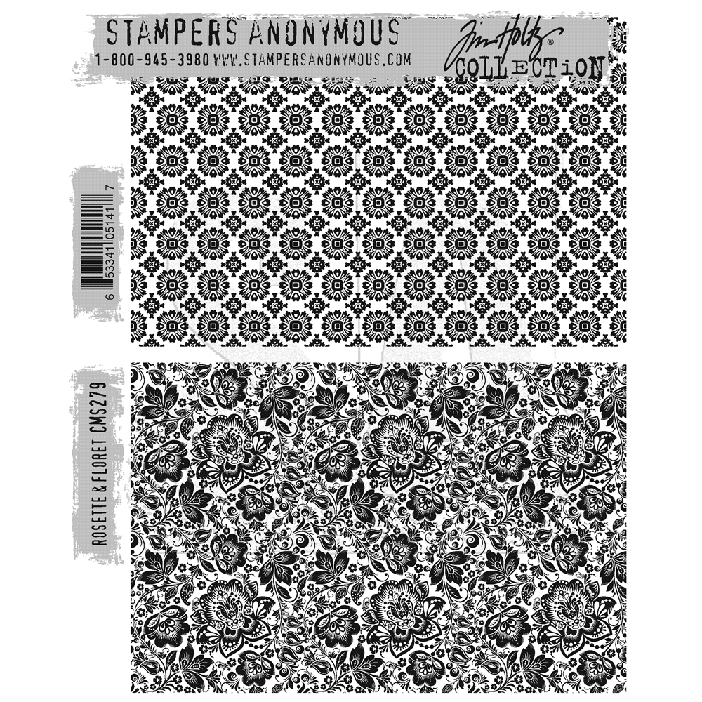 Tim Holtz Cling Rubber Stamps ROSETTE and FLORET CMS279 zoom image