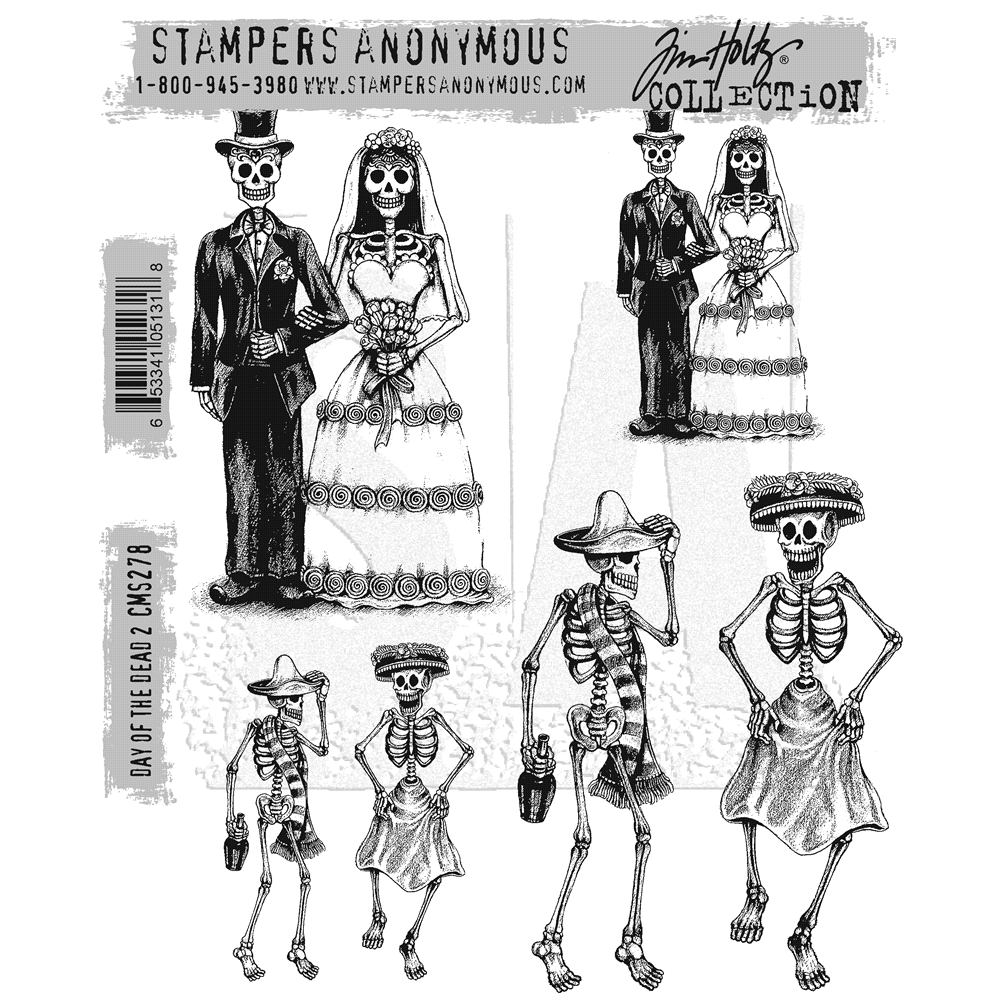 Tim Holtz Cling Rubber Stamps DAY OF THE DEAD #2 CMS278 zoom image