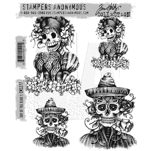 Tim Holtz Cling Rubber Stamps DAY OF THE DEAD #1 CMS277 Preview Image