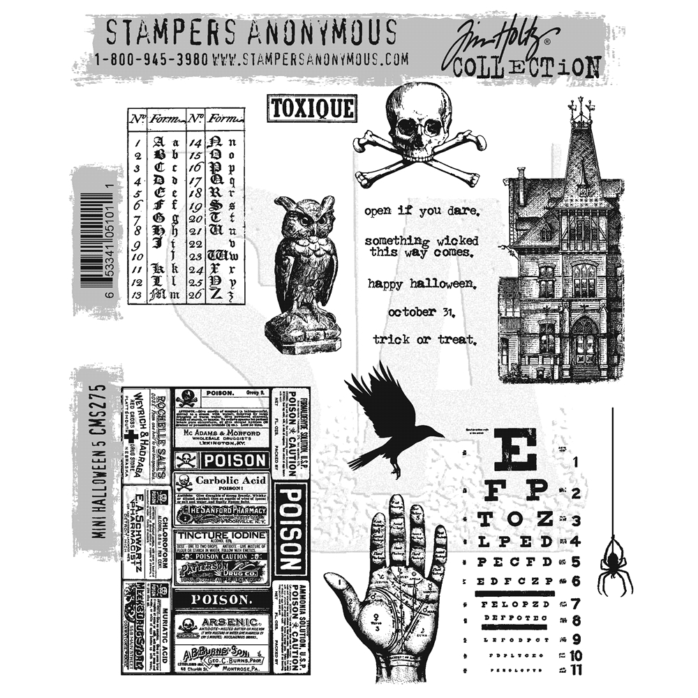 Tim Holtz Cling Rubber Stamps MINI HALLOWEEN #5 CMS275 zoom image