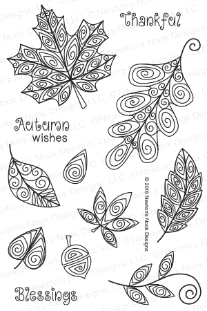 Newton's Nook Designs BEAUTIFUL LEAVES Clear Stamp Set 20160802 zoom image