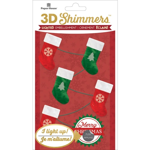 Paper House STOCKING GARLAND LED Shimmers Stickers EMB0007* Preview Image