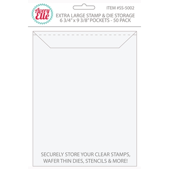 Avery Elle EXTRA LARGE Stamp and Die Storage Pockets 6.75 x 9.375 Set of 50 SS-5002