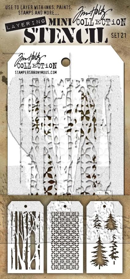 Tim Holtz MINI STENCIL SET 21 MST021 zoom image