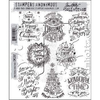 Tim Holtz Cling Rubber Stamps MINI DOODLE GREETINGS CMS287