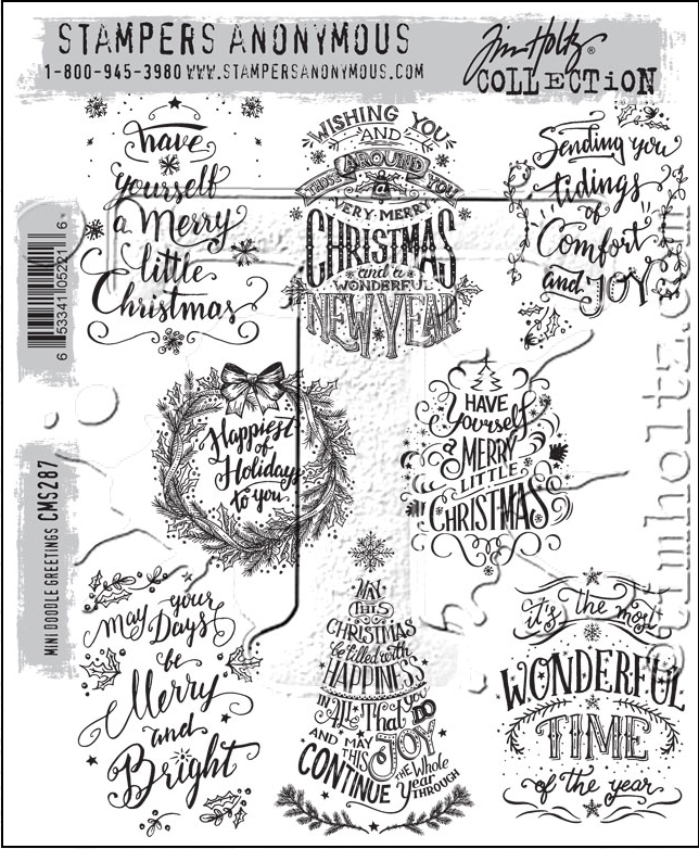 Tim Holtz Cling Rubber Stamps MINI DOODLE GREETINGS CMS287 zoom image