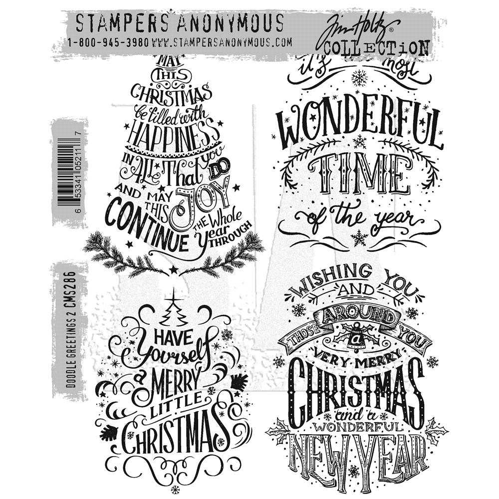 Tim Holtz Cling Rubber Stamps DOODLE GREETINGS #2 CMS286 zoom image