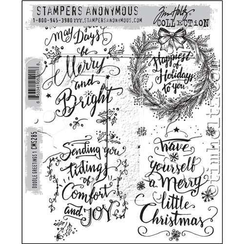 Tim Holtz Cling Rubber Stamps DOODLE GREETINGS #1 CMS285 Preview Image