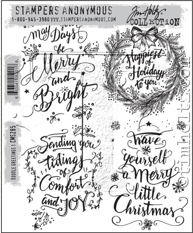 Tim Holtz Cling Rubber Stamps DOODLE GREETINGS #1 CMS285 zoom image