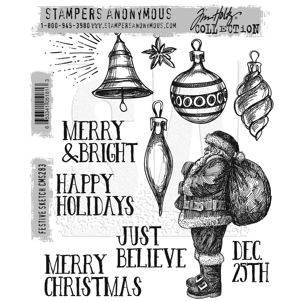 Tim Holtz Cling Rubber Stamps FESTIVE SKETCH CMS283 zoom image