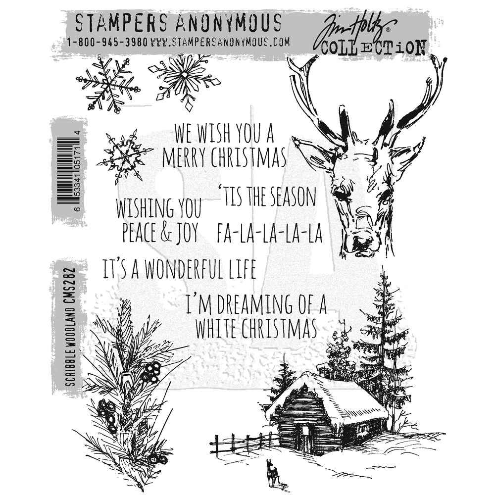 Tim Holtz Cling Rubber Stamps SCRIBBLE WOODLAND CMS282 zoom image