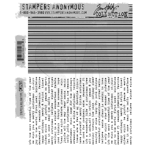 Tim Holtz Cling Rubber Stamps STRIPES and HOLIDAY CMS281 Preview Image