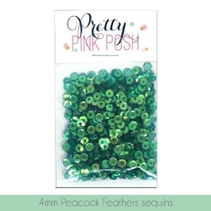 Pretty Pink Posh 4MM PEACOCK FEATHER Sequins* zoom image