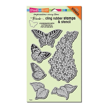 Stampendous Cling Stamps LILAC Set With Stencil UM Rubber CRS5093*