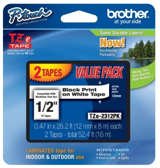 Brother P-Touch 1/2 Black Print on White Tape 2 Pack TZe2312PK zoom image