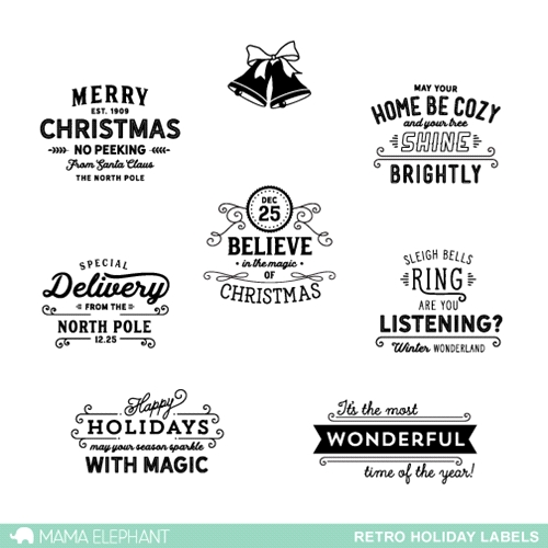 Mama Elephant Clear Stamps RETRO HOLIDAY LABELS Preview Image