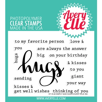 Avery Elle Clear Stamp SIMPLY SAID HUGS Set ST 16 46