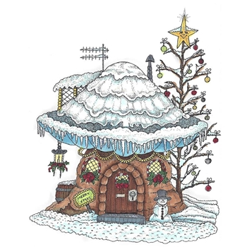 Riley and Company Mushroom Lane WINTER HOUSE Cling Stamp Set ML 2419