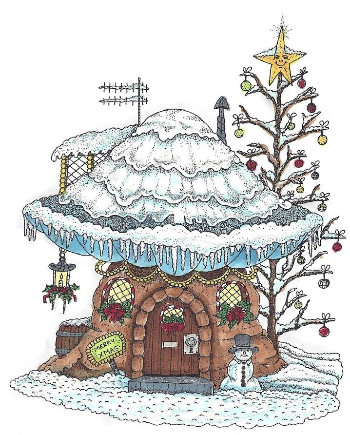 Riley and Company Mushroom Lane WINTER HOUSE Cling Stamp Set ML-2419  zoom image