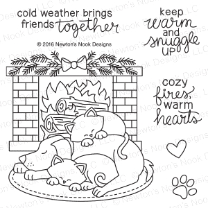 Newton's Nook Designs FIRESIDE FRIENDS Clear Stamp Set 20161104