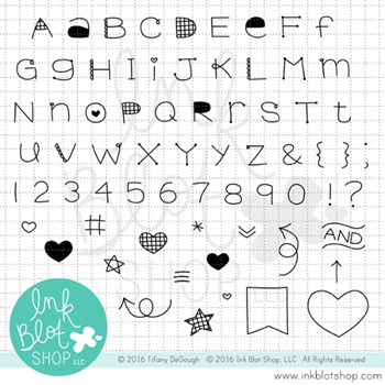 Ink Blot Shop Clear Stamp Set QUIRKY ALPHABET INBL002*