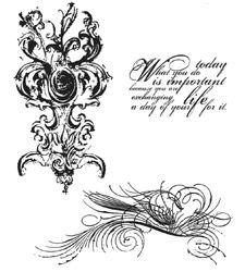 Tim Holtz Cling Rubber Stamps FANCY FLOURISH SET CMS005  zoom image
