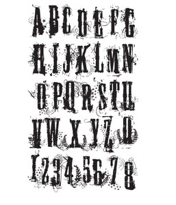 Tim Holtz Cling Rubber Stamp GRUNGE ALPHABET Stampers Anonymous CMS008