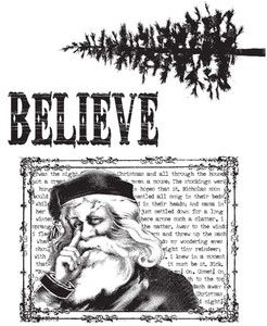 Tim Holtz Cling Rubber Stamps JUST BELIEVE Christmas CMS031 zoom image