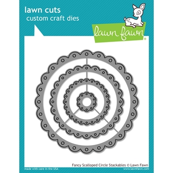 Lawn Fawn FANCY SCALLOPED CIRCLE STACKABLES Lawn Cuts Dies LF1321