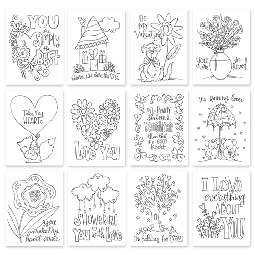 Simon Says Stamp Suzy's TAKE MY HEART WATERCOLOR DOODLES Prints SWTH12 Hey Love Preview Image