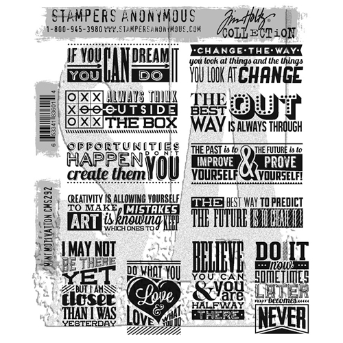 Tim Holtz Cling Rubber Stamps MINI MOTIVATION CMS292 Preview Image