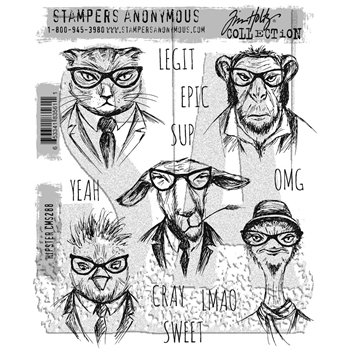 Tim Holtz Cling Rubber Stamps HIPSTER CMS288