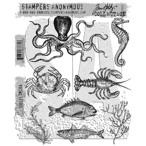 Tim Holtz Cling Rubber Stamps SEA LIFE CMS304 Preview Image