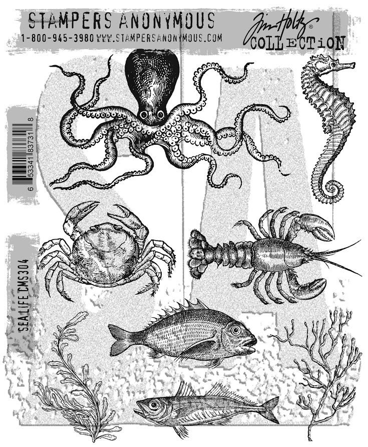 Tim Holtz Cling Rubber Stamps SEA LIFE CMS304 zoom image